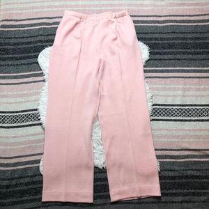 St. John Santana Knit Pleat Trousers Slacks Pink 8